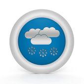 白い背景の雪円形アイコン — ストック写真