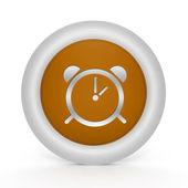 Kulatá ikona alarmu na bílém pozadí — Stock fotografie