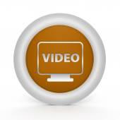 Icona circolare video su sfondo bianco — Foto Stock