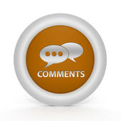Comments now circular icon on white background — Stock Photo