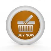 Kup teraz okrągła ikona na białym tle — Zdjęcie stockowe