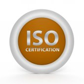 Iso certification circular icon on white background — Stock Photo