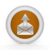 Send circular icon on white background — Stock Photo