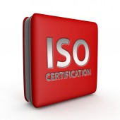 Iso certification square icon on white background — Stock Photo
