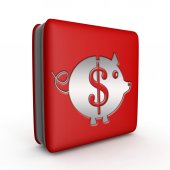 Dollar pig square icon on white background — Stock Photo