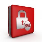 SSL square icon on white background — Stock Photo