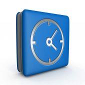 Clock square icon on white background — Stock Photo