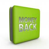 Money back square icon on white background — Stock Photo