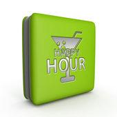 Happy hour square icon on white background — Stock Photo