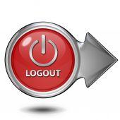 Logout circular icon on white background — Stockfoto
