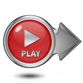 Grać okrągła ikona na białym tle — Zdjęcie stockowe