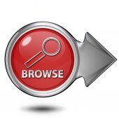 Browse circular icon on white background — Stock Photo