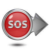 SOS circular icon on white background — Stock Photo