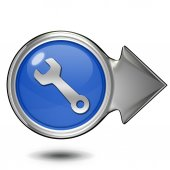 Kulatá ikona nástroje na bílém pozadí — Stock fotografie