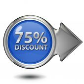 Discount 75 circular icon on white background — Stock Photo
