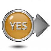 Yes circular icon on white background — Stock Photo