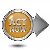 Act now circular icon on white background — Photo