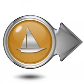 Boat circular icon on white background — Stock Photo