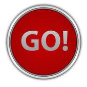 Go circular icon on white background — Stock Photo