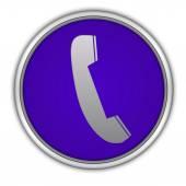 Circulaire telefoonpictogram op witte achtergrond — Stockfoto