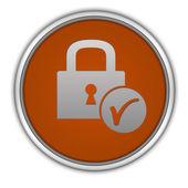 Circulaire pictogram van een hangslot op witte achtergrond — Stockfoto