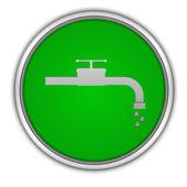 Icona circolare di acqua su priorità bassa bianca — Foto Stock