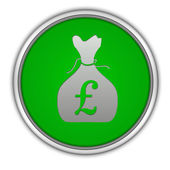 Pound money bag circular icon on white background — Stockfoto