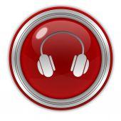 Beyaz arka plan üzerinde kulaklık dairesel simgesi — Stok fotoğraf