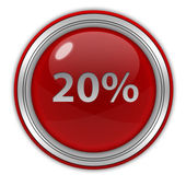 Twenty percent circular icon on white background — Stock Photo