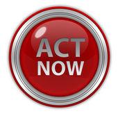Act now circular icon on white background — Stock Photo