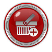 Add to basked circular icon on white background — Stock Photo