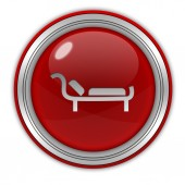 Bed circular icon on white background — Stock Photo