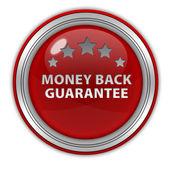 Dinheiro de volta garantia ícone circular sobre fundo branco — Fotografia Stock