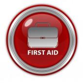 Primeros auxilios icono circular sobre fondo blanco — Foto de Stock