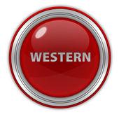 Западная круглый значок на белом фоне — Стоковое фото