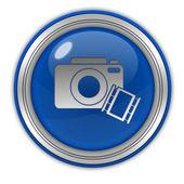 Camera circular icon on white background — Stock Photo