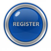 Register circular button on white background — Stock Photo