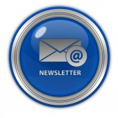 Newsletter circular icon on white background — Stock Photo