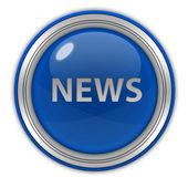 Icona circolare notizie su priorità bassa bianca — Foto Stock