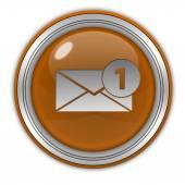 New message circular icon on white background — Stock Photo