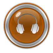 Headset circular icon on white background — Stock Photo