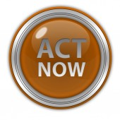 Act now circular icon on white background — 图库照片