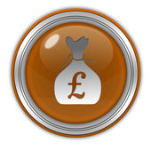 Pound money bag circular icon on white background — Stock Photo