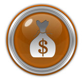 Dollar money bag circular icon on white background — Stock Photo