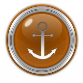 Anchor circular icon on white background — 图库照片