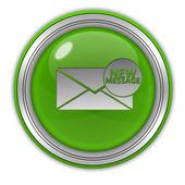 Nuovo messaggio icona circolare su priorità bassa bianca — Foto Stock