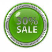 Icona circolare del trenta per cento di vendita su priorità bassa bianca — Foto Stock