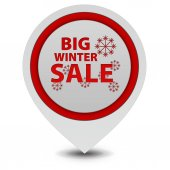 Winter sale pointer icon on white background — Stock Photo