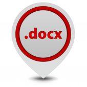 .docx pointer icon on white background — Stockfoto