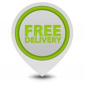 Free delivery pointer icon on white background — Stock Photo